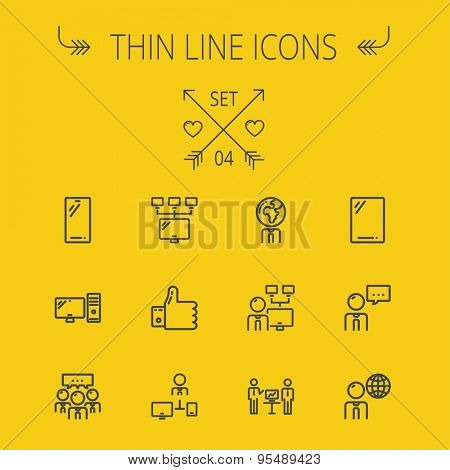 Technology thin line icon set for web and mobile. Set includes - Mobile phone, gadget, computer, CPU, global thumbs up, presentation. Modern minimalistic flat design. Vector dark grey icon on yellow