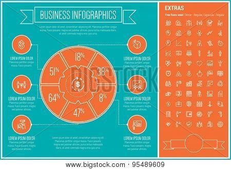 Business infographic template and elements. The template includes the following set of icons - presentation, graph, arrow, handshake, calendar, heart, meeting and more. Modern minimalistic flat thin