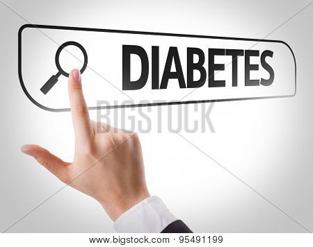 Diabetes written in search bar on virtual screen