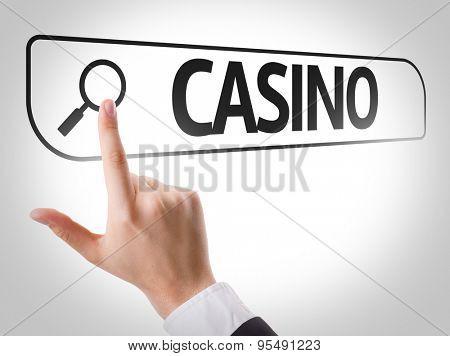 Casino written in search bar on virtual screen