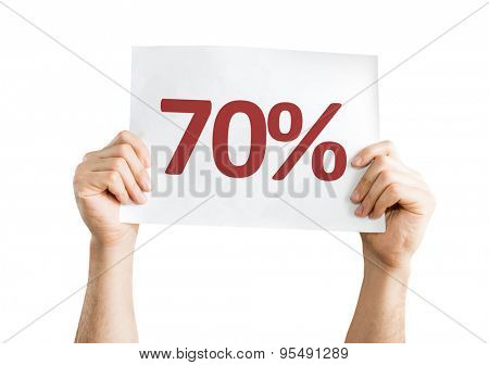 70% card isolated on white