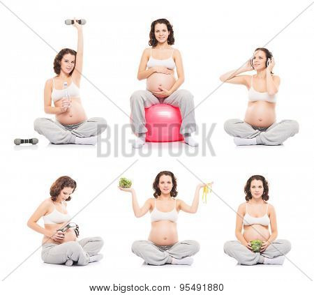 Pregnant woman isolated on white. Set of different photos. Healthy eating, sports and fitness collection.