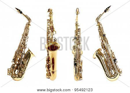 Golden saxophones isolated on white