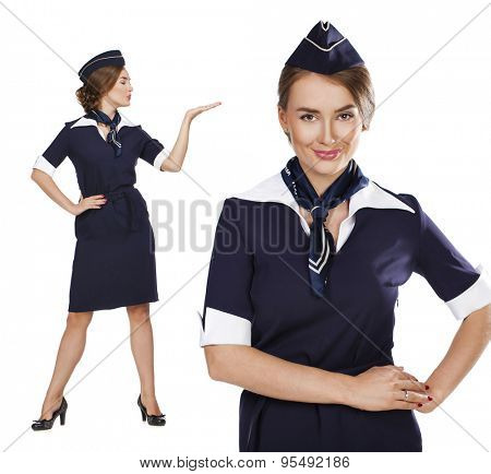 Collage two women, Portrait in full growth stewardess holding suitcase isolated on white background
