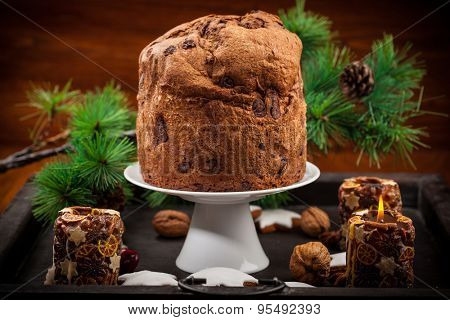 Chocolate panettone cake for Christmas - traditional Italian Christmas cake