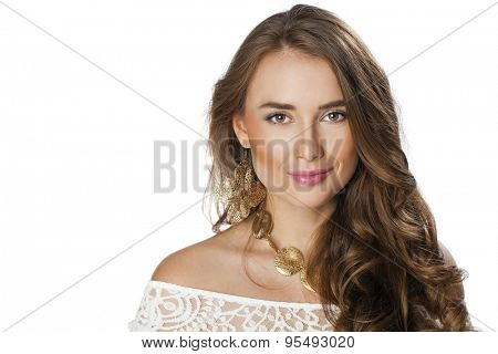 Portrait close up of young beautiful woman, isolated on white background
