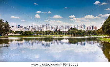 Sao Paulo skyline from Ibirapuera Park, Brazil.