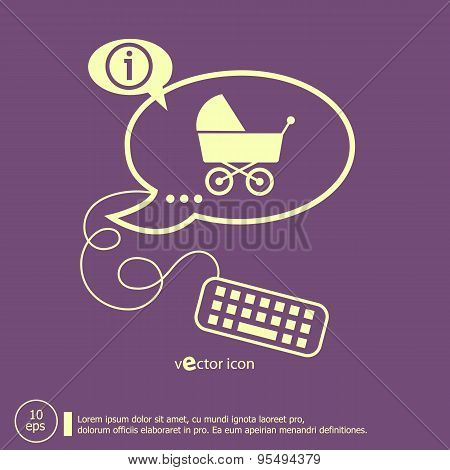 Baby Buggy And Keyboard Design Elements