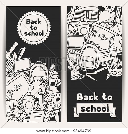 Back to school background with education hand drawn doodles