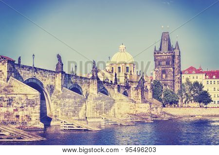 Retro Instagram Stylized Picture Of Prague, Charles Bridge And Vltava River.