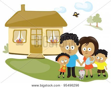 Family by their house
