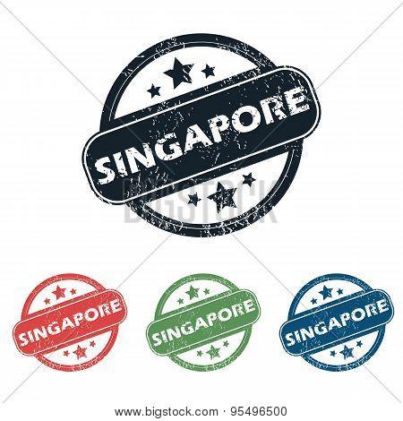 Round Singapore city stamp set