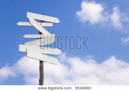 Old Blank Wooden Signpost