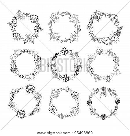 Set Of Vintage Floral Wreathes