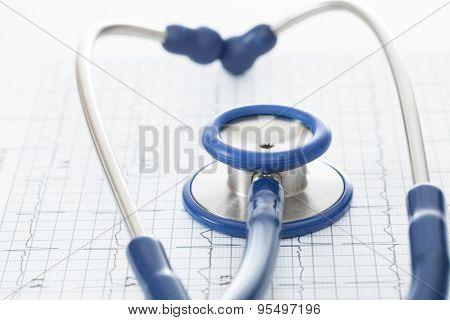Stethoscope And Ekg Cardiogram Chart - Studio Shot