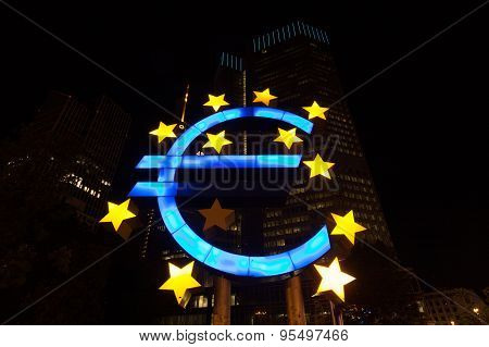 Euro Sign At Night