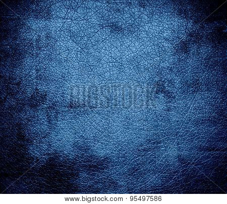 Grunge background of cyan azure leather texture