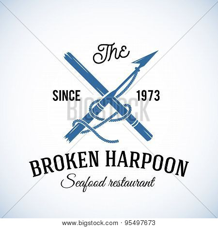 Broken Harpoon Seafood Restaurant Abstract Vector Retro Logo Template or Vintage Label with Typograp
