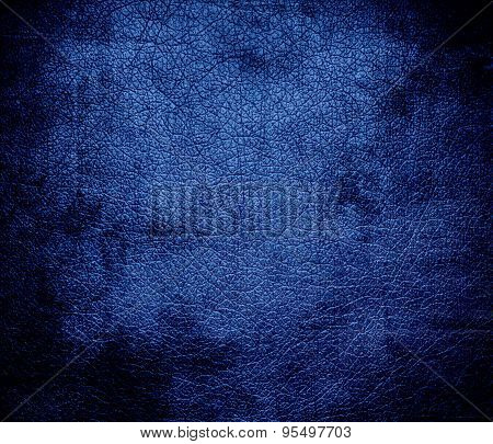 Grunge background of cyan cobalt blue leather texture