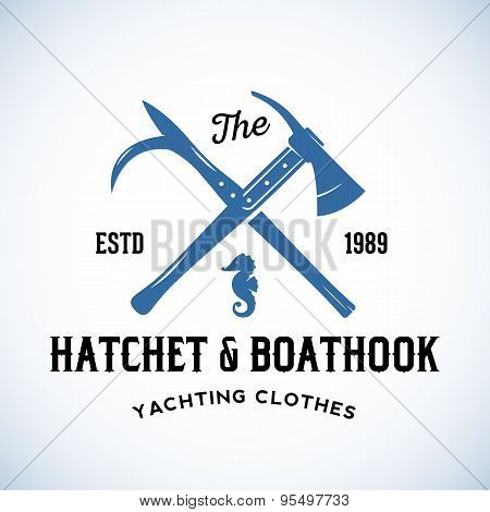 Hatchet and Boathook Yachting Clothes Manufacture Abstract Vector Retro Logo Template or Vintage Lab