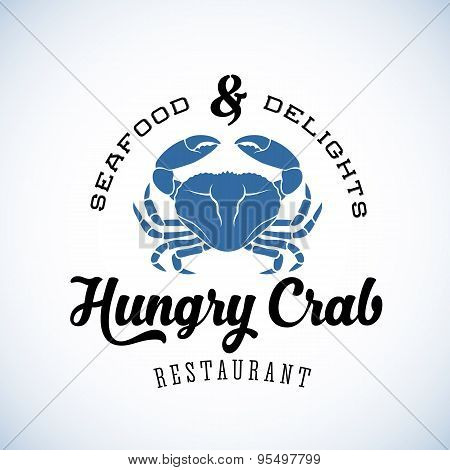 Hungry Crab Restaurant Abstract Vector Retro Logo Template or Vintage Label with Typography