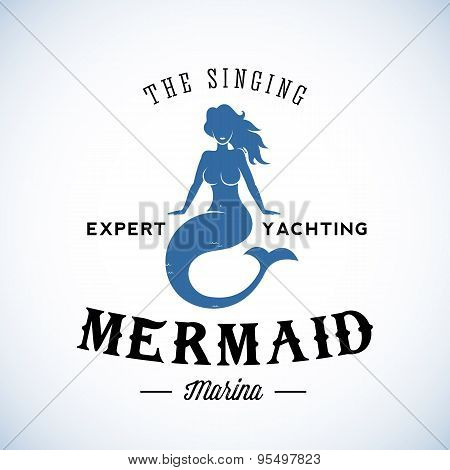 The Singing Mermaid Marina Abstract Vector Retro Logo Template or Vintage Label with Typography