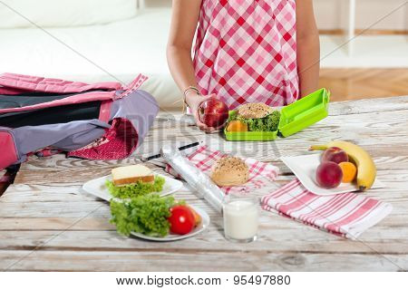 Healthy and tasty lunch box for child, close up