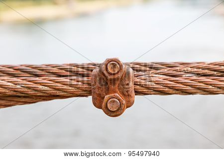 Rusty Cable Sling Of Bridge