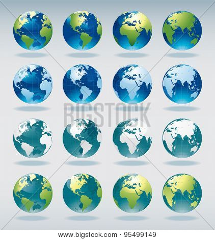Set of vector world globe icons and symbols