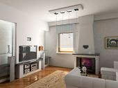 picture of home theater  - design of the modern interior of apartment  - JPG