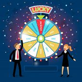 picture of money prize  - Business people with financial wheel of fortune - JPG