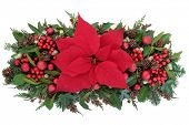 picture of christmas flower  - Thanksgiving and christmas poinsettia flower display with red baubles - JPG