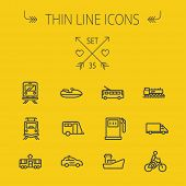 image of transportation icons  - Transportation thin line icon set for web and mobile - JPG