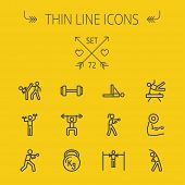 picture of boxing  - Sports thin line icon set for web and mobile - JPG