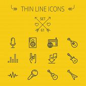 Постер, плакат: Music and entertainment thin line icon set for web and mobile Set includes speaker rock hand wire