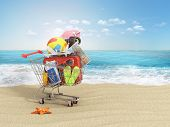 picture of old suitcase  - Shopping cart with beach accessories on the beach line - JPG