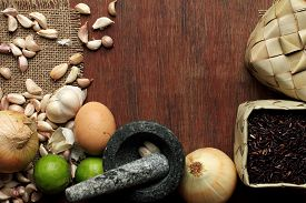 pic of raw materials  - thai Food background dry and fresh raw material on wood - JPG