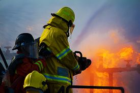 stock photo of firefighter  - The Firefighters training exercise - JPG