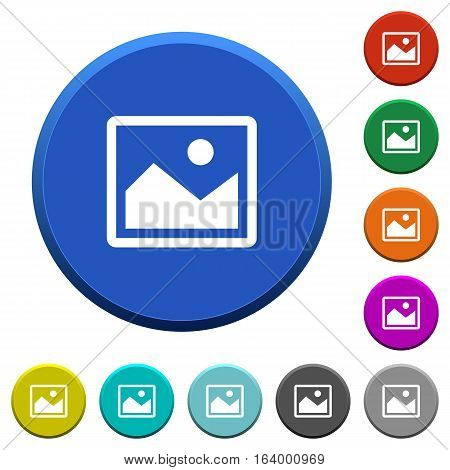 Picture round color beveled buttons with smooth surfaces and flat white icons