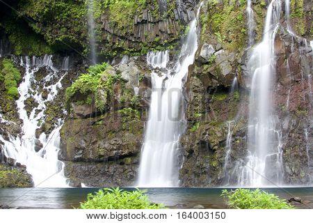 Grand Galet Mountain Waterfall Reunion Island, France.