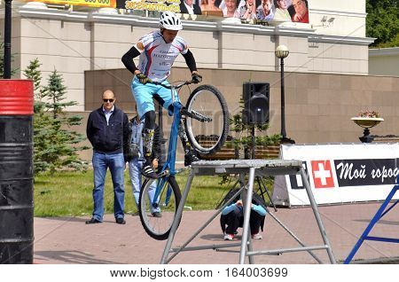 Mikhail Sukhanov's performance champions of Russia on a cycle trial. City Day of Tyumen, Russia on July 26, 2016