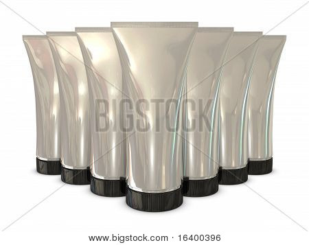 Group of silver tube packs