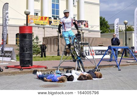 Mikhail Sukhanov's performance champions of Russia on a cycle trial. City Day of Tyumen, Russia on July 26 2016