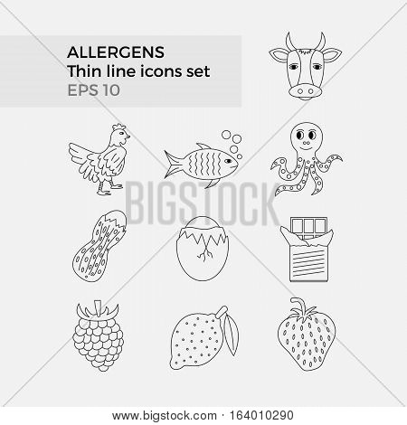 Allergens thin line icons set on white background. Vector illustration of food ingridients, that may cause allergy.