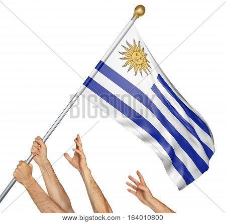 Team of peoples hands raising the Uruguay national flag, 3D rendering isolated on white background