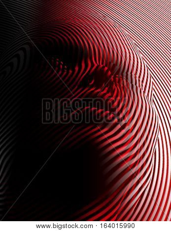 The 3D face appears through red and white lines