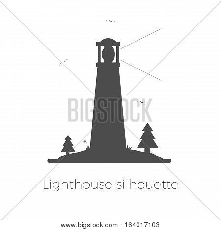 Lighthouse silhouette vector illustration. Beacon on island with trees, grass and seagulls. Isolated on white background.