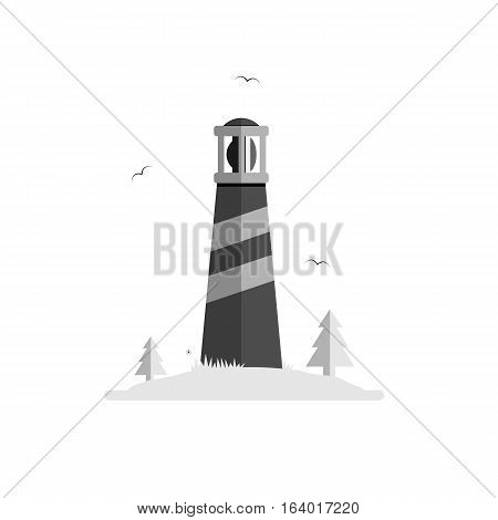 Lighthouse silhouette vector illustration. Beacon on island with trees, grass and seagulls. Isolated on white background. Grayscale and simple.