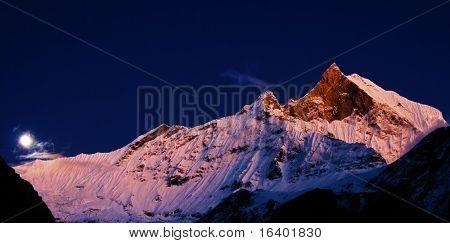 Mount Machhapuchhre after sunset, Himalaya, Nepal