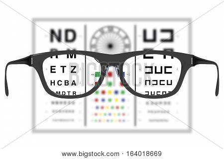 Eyeglases In A Vision Test Where The Lenses Offer A Sharp Vision